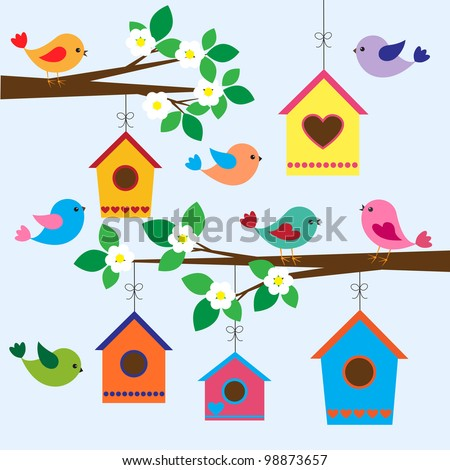 colorful birds and birdhouses