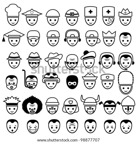 vector faces icons set