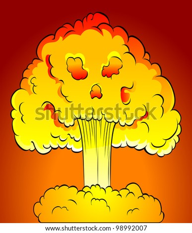 nuclear explosion with skull