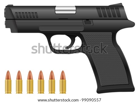 pistol and bullets on a white