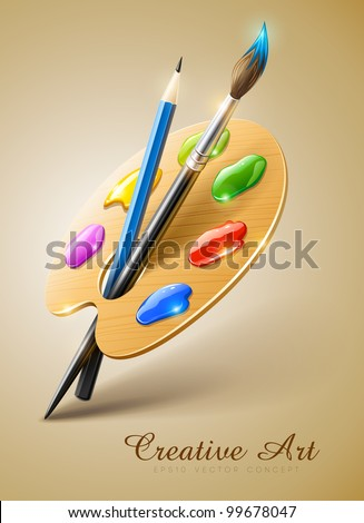 art palette with paint brush