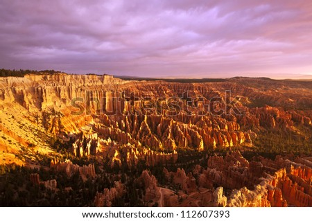 A Beautiful view of Bryce Point Taken at sunrise - stock photo