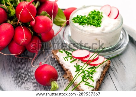 A bowl with curd and radish and a heart shaped chives decoration and brown bread - stock photo