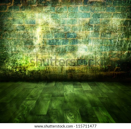 A dark wall, the grungy room - stock photo