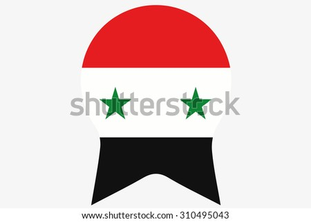 A Flag Illustration inside a Rosette of the country of Syria - stock photo