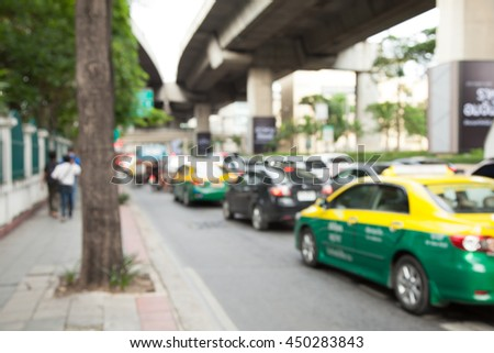 a footpath in a traffic jam, Blur - stock photo
