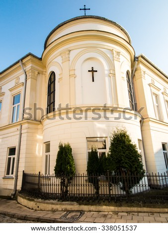 a fragment of the facade of the episcopal palace in Sandomierz, Poland - stock photo