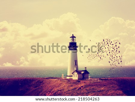 a lighthouse with a flock of birds toned with a retro vintage instagram filter effect  - stock photo