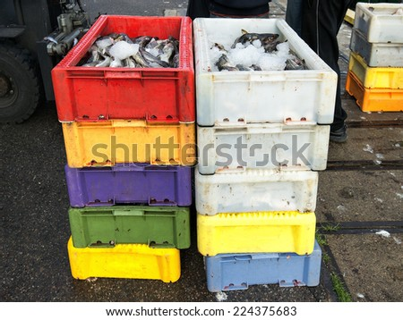 A local fishing artel unloads its catch after a morning fishing, cod, flounder - stock photo