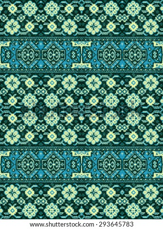 A pattern of floral and geometric elements for carpet, bedding - stock photo