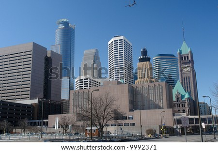A picture of Minneapolis skyline from downtown stadium - stock photo