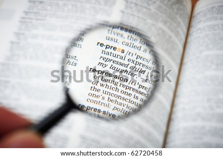 a repression definition in a dictionary - stock photo