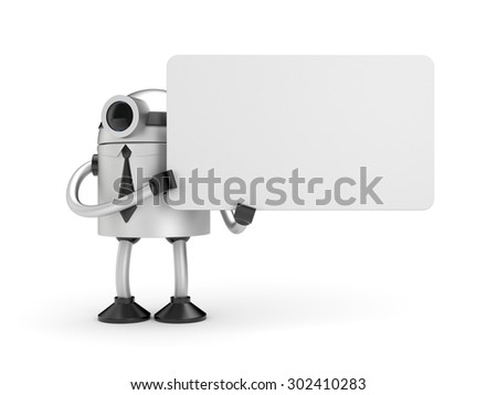A robot holding a sign - stock photo