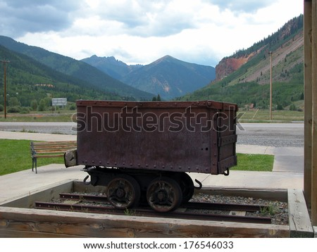 A rustic ore car is on display in the town center of Silverton, Colorado.          - stock photo