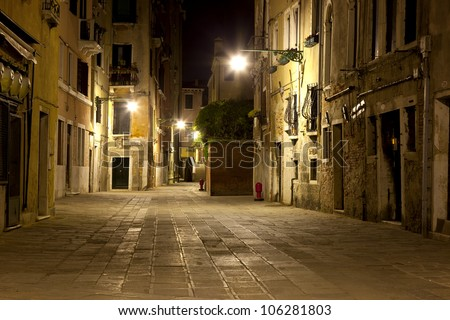 A street in Venice in night - stock photo