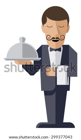 A welcoming stylised waiter character holding a serving platter or silver cloche  - stock photo