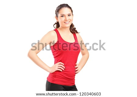 A young athletic girl posing isolated on white background - stock photo