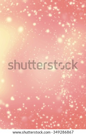 Abstract Background with Christmas Glitter Defocused Bokeh, Blinking Stars and snow flakes. Blurred Soft colored  - stock photo