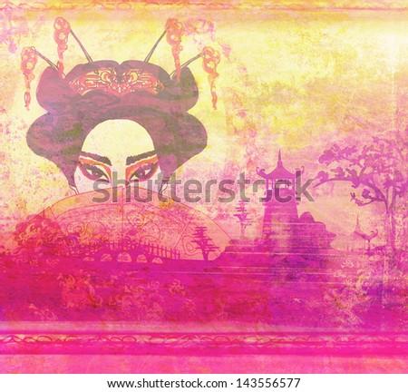 Abstract Beautiful geisha Portrait - stock photo