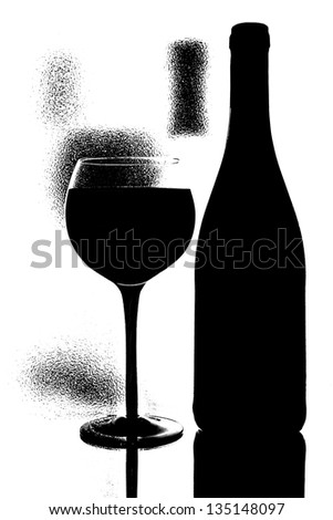 Abstract black and white conceptual  photo of wine  glassware - stock photo