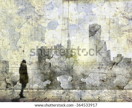 Abstract city skyline with small female figure unrecognizable                              - stock photo