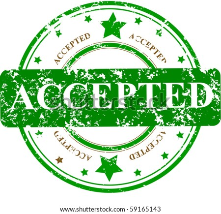 Abstract grunge rubber office stamp with the word ACCEPTED and stars - stock photo