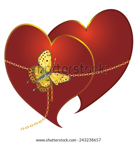 abstract illustration of loving couple with butterfly - stock photo