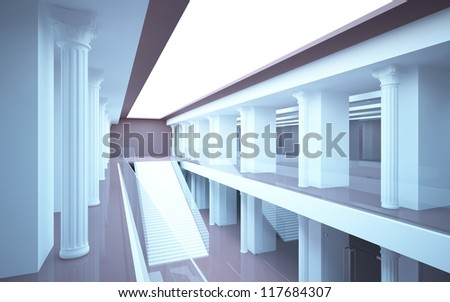 abstract interior mall with classical columns and stairs - stock photo