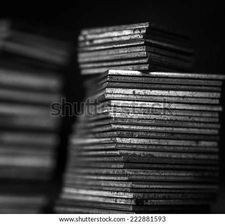 abstract macro  photo of rusty square metal parts form. Selective focus. - stock photo