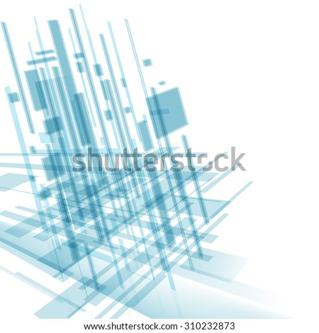 Abstract modern cover with text and heading. Technology or business or science blue background. Digital design, transparent geometric shapes. Futuristic style. Raster version - stock photo