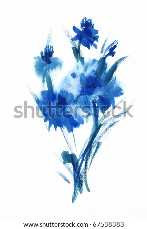 "Abstract painted floral background Album ""Bouquet of flowers."" "" Blue flowers watercolor"" - stock photo"
