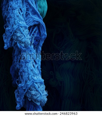 Abstract pattern smoke of yarn, Color threads bunch isolated on black background - stock photo