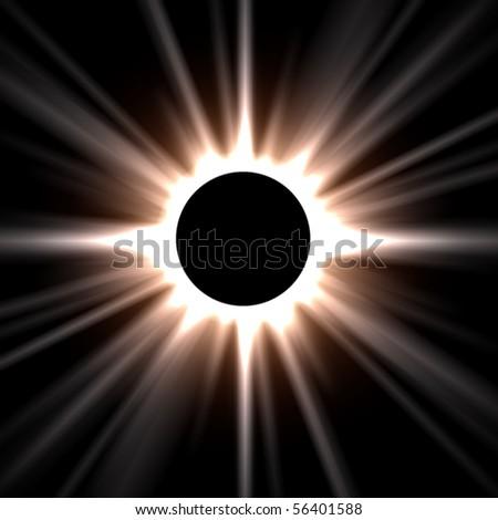 Abstract sun eclipse - stock photo