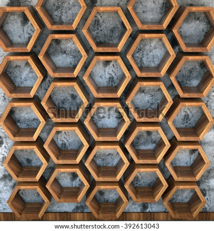 Abstract symmetric interior with Hexagon structures on the wall, 3d - stock photo