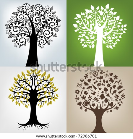 4 Abstract Trees - stock photo