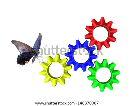 abstract web design with copy space in cog wheel - stock photo