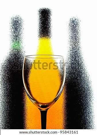 Abstract wine  glassware background design made from a wine glass and bottles . - stock photo