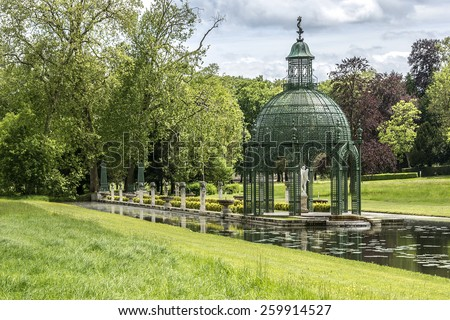 115 acres of park in famous Chateau de Chantilly (Chantilly Castle, 1560). Chantilly is a historic chateau located in town of Chantilly, Oise, Picardie, France. - stock photo