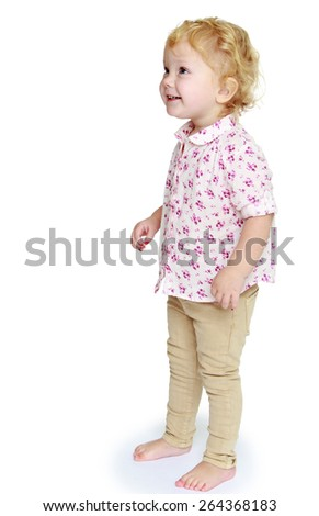 Adorable little girl photo in full growth. - isolated on white background - stock photo