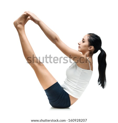adult woman in urdva mykha pashchimottanasana yoga position isolated - stock photo