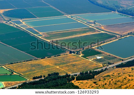 Aerial View of field. Golan Heights, Israel - stock photo