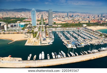 aerial view of Port Olimpic from helicopter. Barcelona, Spain - stock photo