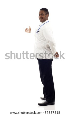 African American doctor presenting something isolated over white background - stock photo
