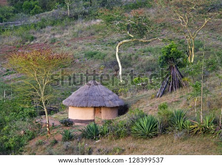 African traditional  hut, Kenya - stock photo