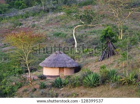 African traditional  hut, Kenya - stock photo