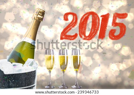 2015 against black and gold new year message - stock photo