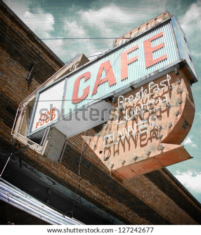 aged and worn vintage cafe neon sign - stock photo