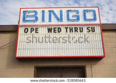 aged and worn vintage photo of bingo sign                             - stock photo