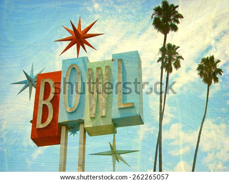 aged and worn vintage photo of  bowling sing with palm trees                             - stock photo