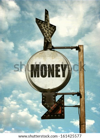 aged and worn vintage photo of money sign with arrow                              - stock photo